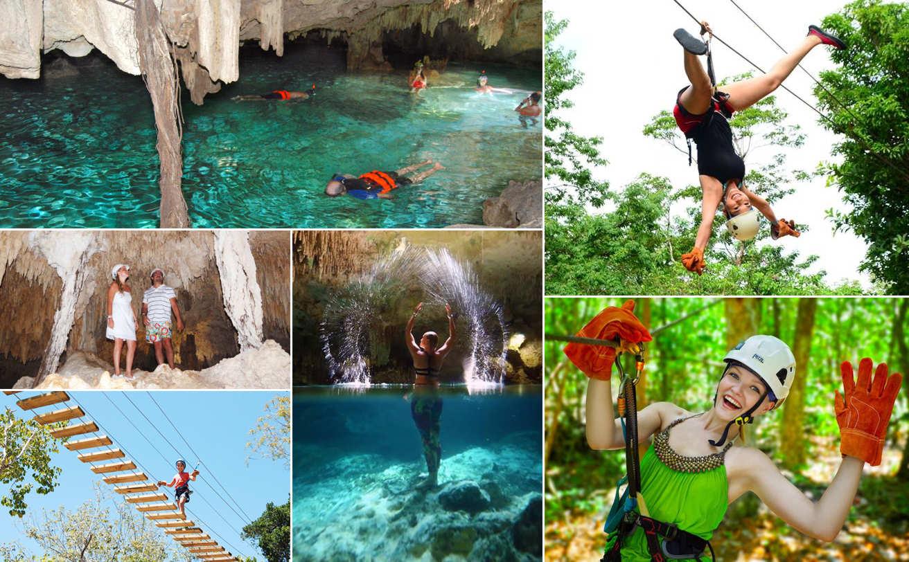 Snorkel en Cenote Aktun Chen, Tirolesas y caminata en Cueva | VC19