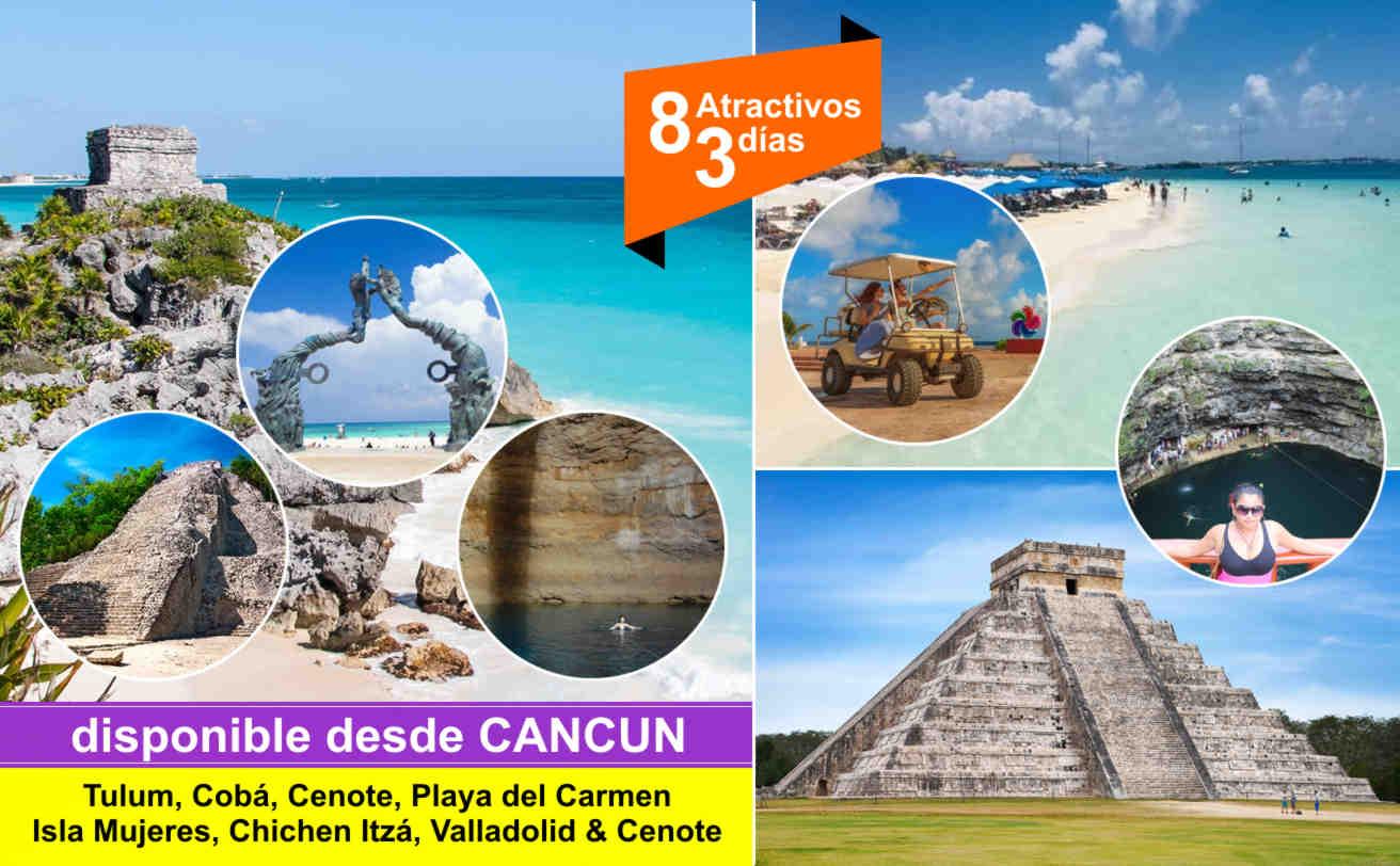 Tulum, Cobá, Cenote, Playa del Carmen, Chichen Itzá e Isla Mujeres