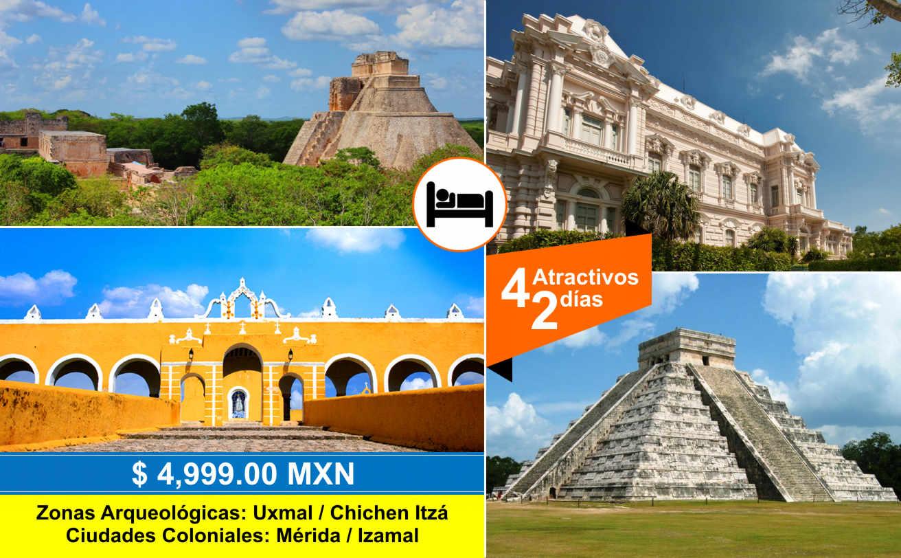 Uxmal, Mérida, Izamal y Chichen Itzá | 2 DIAS | Vg